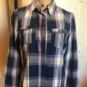 Aeropostale blue plaid button down shirt